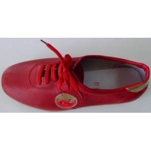 太極拳革靴(陰陽マーク)赤・薄底|taiqi