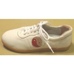 太極拳革靴(陰陽マーク)白・薄底|taiqi