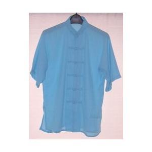 太極拳の上服 空色( 雪絹・光沢なし)(半袖) 5001 |taiqi