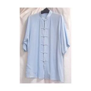 シルク半袖 水色(光沢なし)|taiqi