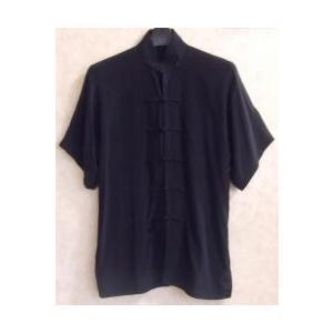 太極拳の上服 濃紺(光沢なし)(半袖)|taiqi