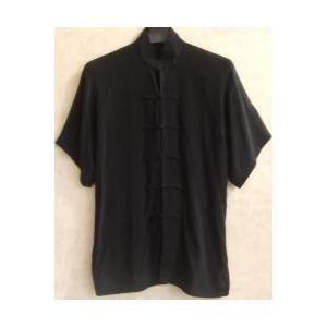 太極拳の上服 黒(光沢なし)(半袖)|taiqi