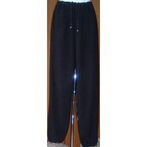 綿麻ズボン 黒(光沢なし)|taiqi