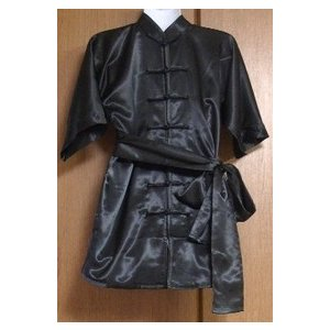 ポリエステル長拳服(黒) (光沢あり)ベルト付|taiqi