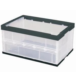 セキスイ 折りたたみ コンテナ ボックス OC-75L 透明/BK(黒) [100個入] CO75CBK 本体のみ(フタ別売り)|tairaml