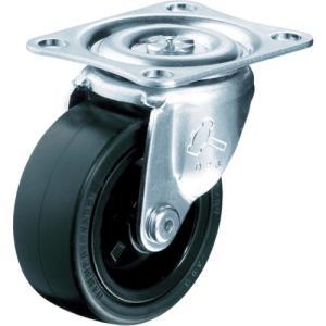 ハンマー キャスター 車輪 420G-R 25mm 平付プレート 旋回式 (ゴム一体車輪 [樹脂ブッシュ入])|tairaml