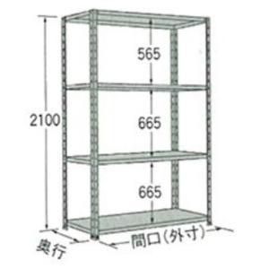 棚・ラック:扶桑金属軽量ラック:オープン型グレーW875×D450×H2100:4段:LO2109M04 tairaml