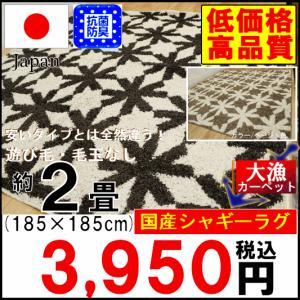 ラグ カーペット 2畳 じゅうたん 絨毯 ラグマット 日本製 セミシャギー 抗菌 防臭 折り畳み 【モルデ】 約2畳 185×185cm