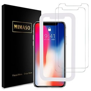 Nimaso iPhoneX/iPhoneXS 5.8 インチ 用 液晶保護ガラスフィルム ガイド枠付き 2枚セット( アイフォンX/XS用 taisei-sunflower