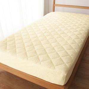 [nissen(ニッセン)] ボックスシーツ 敷きパッド 一体型 パイル地 綿100% アイボリー ...
