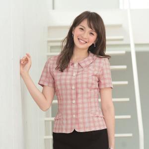 事務服 オーバーブラウス 26145-5(ピンク)春夏用 17号・19号 en joie(アンジョア) taiseisenkou