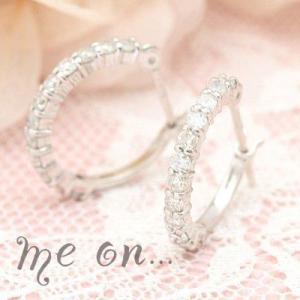 【me on...】合計24粒のダイヤモンドが輝くK14ホワイトゴールドエタニティリング・フープタイプピアス|taiyodo
