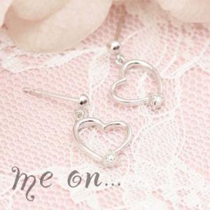 【me on...】美ラインのオープンハート★K14ゴールドのオープンハートに一粒の輝きダイヤモンドピアス|taiyodo