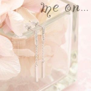 【me on...】フォーマルデザインのゴージャスな輝き。K14ホワイトゴールド12個のダイヤモンドロングピアス|taiyodo
