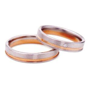 ランバン LANVIN LA VIE EN BLEU 結婚指輪・ペア(マリッジ)リング 5924044(Lady) PT900/K18PG ダイヤ入り 内側にブルーサファイヤ入り(画像右)|taiyodo