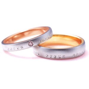 ニナリッチ 結婚指輪 ペア マリッジリング モンクール アンラセ6RL913(Men) PT900 K18(画像右) taiyodo