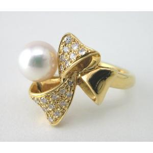K18 ニナリッチパールリング ダイヤモンド入り taiyodo