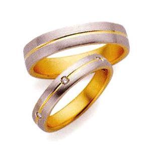 ランバン(LANVIN) LA VIE EN BLEU 結婚指輪・ペア(マリッジ)リング5924038(Men) PT950/K18YG 内側にブルーサファイヤ入り(画像上)|taiyodo