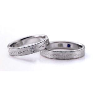 ロマンティックブルー結婚指輪 Romantic Blue マリッジリング ダイヤ入り 4RK019(Lady) PT900(画像左) taiyodo