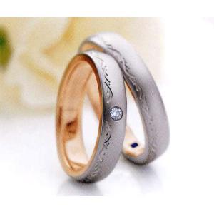 ロマンティックブルーブライダル結婚指輪Romantic Blueマリッジリング ダイヤモンド入り4RK017(Lady) PT900 K18PG(画像左) taiyodo