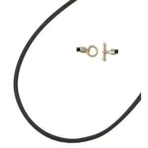 ボンサンテ シルバーTバークラスプ付きレザーネックレス(黒)3NV012 ナノテクジュエリー|taiyodo
