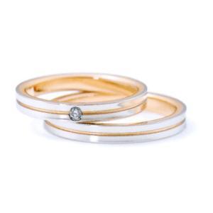 ニナリッチ 結婚指輪・ペア(マリッジ)リング 6RM907 PT900 K18ピンクゴールド ダイヤモンド入り(画像上) taiyodo