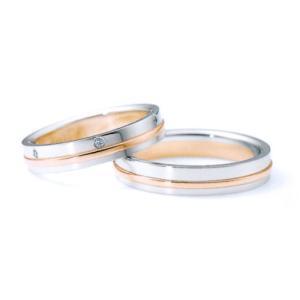 ニナリッチ 結婚指輪・ペア(マリッジ)リング 6RM908 PT900 K18ピンクゴールド ダイヤモンド入り(画像上) taiyodo