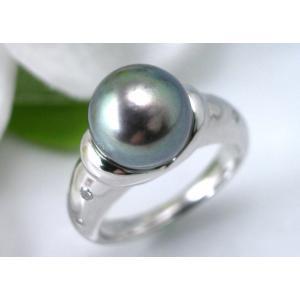プラチナ ブラックあこやパールリング 9.3ミリ ダイヤモンド入り taiyodo