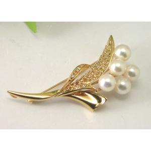 K18ゴールド アコヤパールブローチ 7ミリ 真珠5個入り|taiyodo