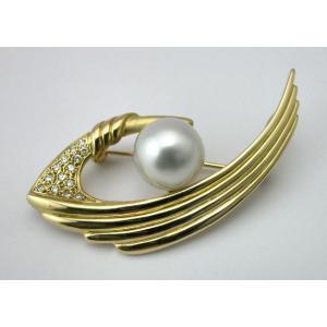 K18 白蝶パール(南洋真珠)ブローチ 11.6ミリ ダイヤモンド入り|taiyodo