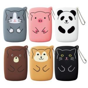 リヒトラブ スリットポーチ Puni Labo バッグにつけてワンポイントに シリコン素材の動物シリーズ 文房具 ゴミや小物入れ|taiyotomah