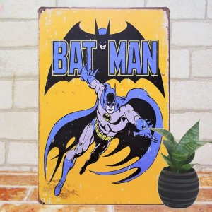 ブリキ看板 1000種類 バットマン 黄色 1// アメコミ DCコミック ポスター|taiyozakka