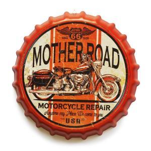 ブリキ看板 bc35 ルート66 as1 ボトルキャップ 王冠 型 バイク ビンテージ|taiyozakka
