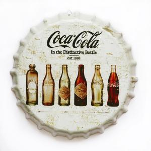 ブリキ看板 bc35 コカコーラ bi ビンテージ 白 ボトルキャップ 王冠 型|taiyozakka