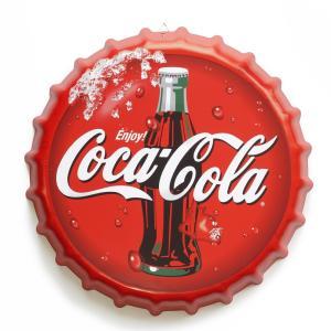 ブリキ看板 bc35 コカコーラ re ビンテージ 赤 ボトルキャップ 王冠 型|taiyozakka