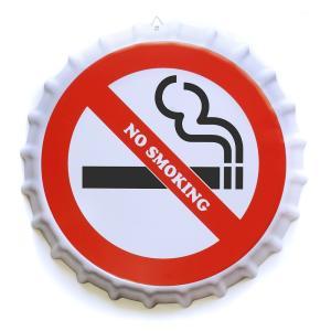 ブリキ看板 bc35 禁煙 3 タバコ 煙草 ポスター ボトルキャップ 王冠 型|taiyozakka