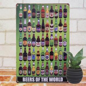ブリキ看板 世界の瓶ビール BEER ポスター ハイネケン コロナ アサヒ|taiyozakka