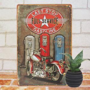 ブリキ看板 1000種類 バイク赤 ガソリンスタンドfs ポスター|taiyozakka