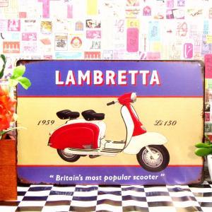 ブリキ看板 1000種類 LAMBRETTA ランブレッタ125 赤 ポスター|taiyozakka