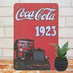 ブリキ看板 コカコーラ 1923 ポスター 赤 ノベルティー 文字 デザイン グッズ|taiyozakka