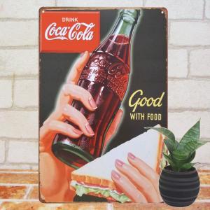 ブリキ看板 コカコーラ サンドウィッチ ポスター カフェ BAR ビンテージ|taiyozakka