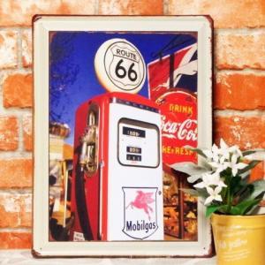 ブリキ看板【大】ルート66 コカコーラ GS ポスター ビンテージ アメリカ|taiyozakka