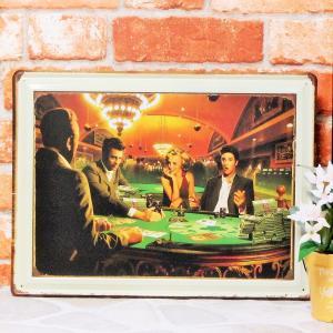 ブリキ看板【大】1000種類 マリリンモンロー&エルビスプレスリー&ジェームスディーン カジノ1 ポスター|taiyozakka