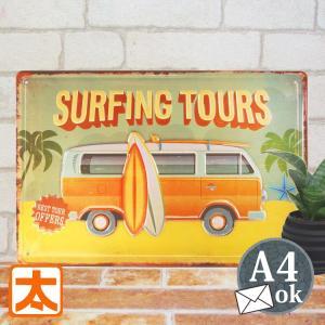 ブリキ看板e  ワーゲンバス オレンジ色 st ポスター サーフィン surf 凸凹|taiyozakka