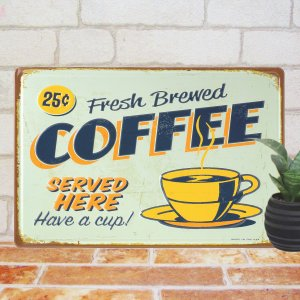 ブリキ看板e コーヒー251 インテリア ポスター カフェ 壁掛け アートパネル|taiyozakka