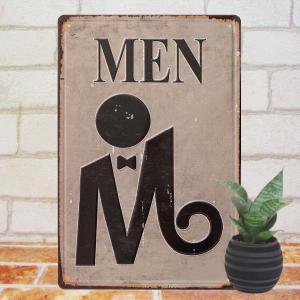 ブリキ看板e MEN ポスター インテリア man 男性用 トイレ 化粧室 マーク|taiyozakka