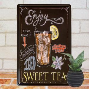 ブリキ看板e アイスレモンティー 紅茶 インテリア ポスター カフェ 壁掛け|taiyozakka