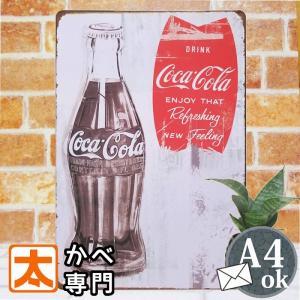 ブリキ看板 コカコーラ bow ビンテージ ボトル 白 アメリカン雑貨 ポスター|taiyozakka