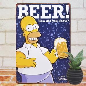 ブリキ看板 シンプソンズ 生ビールで乾杯2 アメコミ キャラクター ポスター|taiyozakka