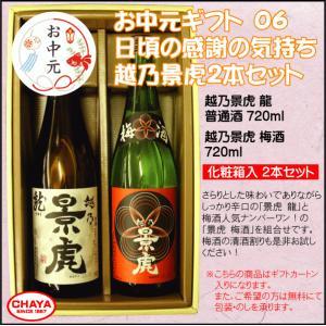 【父の日ギフト】越乃景虎 龍 × 梅酒 720ml 2本セット 《選べるのし》 新潟清酒 諸橋酒造|takabatake-sake
